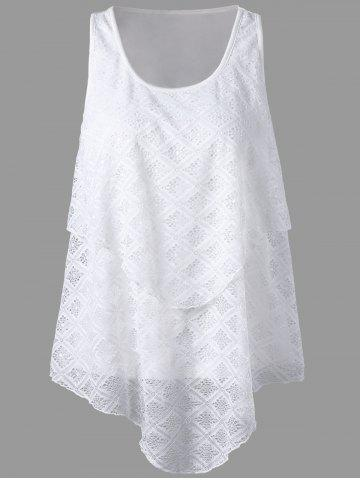 Lace Panel Asymmetrical Top - White - Xl
