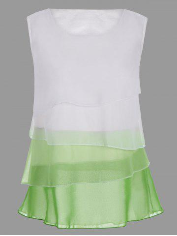 Ombre Color Sheer Chiffon Top - White - S