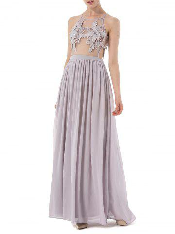 Cochet Lace Long Chiffon Formal Prom Dress