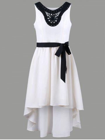 Outfits Chiffon Applique High Low Dress OFF-WHITE 2XL