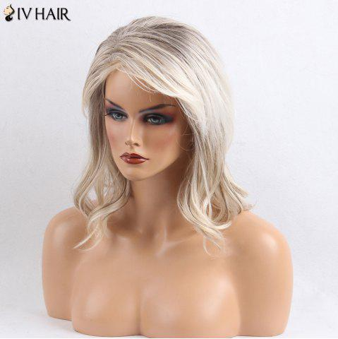 Outfits Siv Hair Side Bang Shaggy Slightly Curly Medium Colormix Human Hair Wig - COLORMIX  Mobile