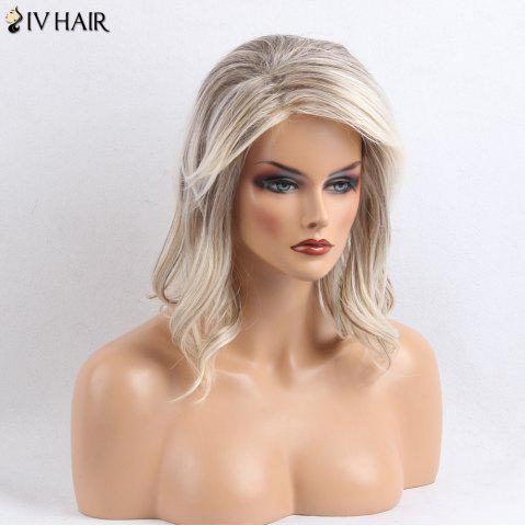 Discount Siv Hair Side Bang Shaggy Slightly Curly Medium Colormix Human Hair Wig - COLORMIX  Mobile