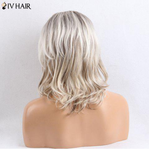 Hot Siv Hair Side Bang Shaggy Slightly Curly Medium Colormix Human Hair Wig - COLORMIX  Mobile