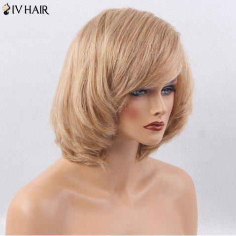 Fashion Siv Hair Side Bang Straight Short Bob Human Hair Wig - BROWN WITH BLONDE  Mobile