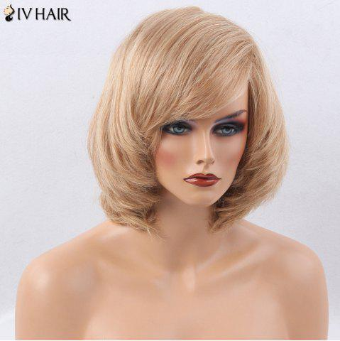 Hot Siv Hair Side Bang Straight Short Bob Human Hair Wig - BROWN WITH BLONDE  Mobile