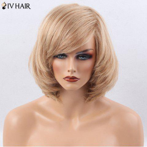 Outfits Siv Hair Side Bang Straight Short Bob Human Hair Wig - BROWN WITH BLONDE  Mobile