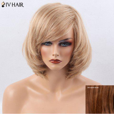 Hot Siv Hair Side Bang Straight Short Bob Human Hair Wig - AUBURN BROWN #30  Mobile