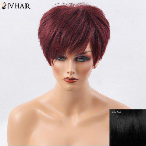 Discount Siv Hair Short Side Bang Layered Shaggy Straight Human Hair Wig - JET BLACK #01  Mobile