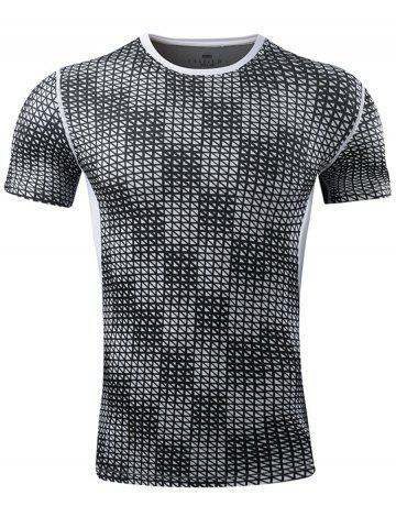 Quick Dry Grid Pattern Sport T-shirt - Gray - Xl