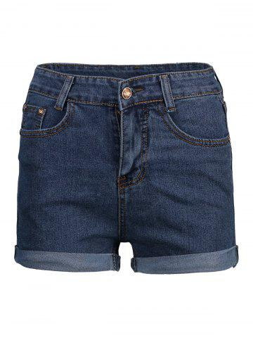Online Cuffed High Waisted Denim Shorts - S DEEP BLUE Mobile