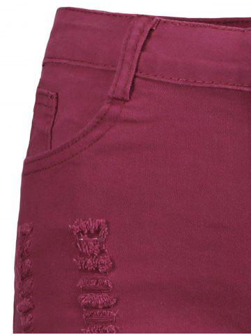 Online High Waisted Ripped Denim Shorts - S WINE RED Mobile