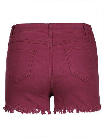 Sale High Waisted Ripped Denim Shorts - S WINE RED Mobile