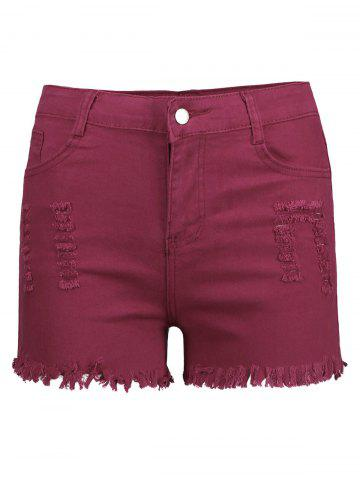 Online High Waisted Ripped Denim Shorts - L WINE RED Mobile