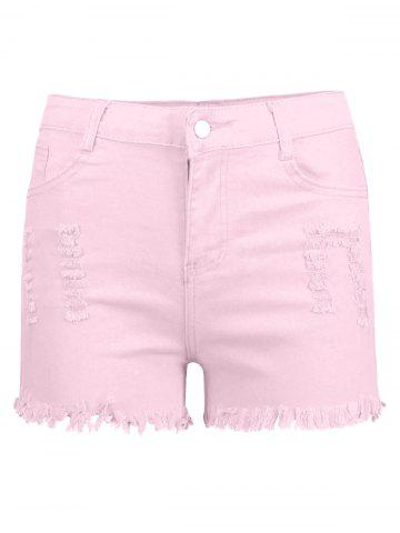Best High Waisted Ripped Denim Shorts - M PINK Mobile