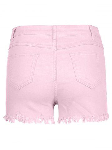 Outfit High Waisted Ripped Denim Shorts - S PINK Mobile