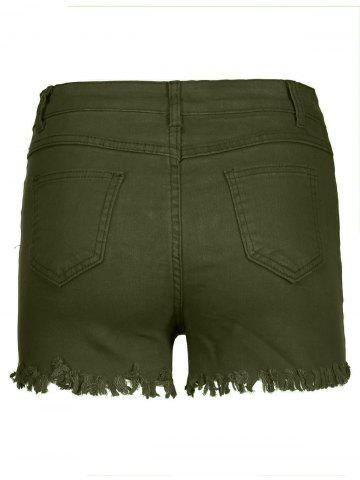 Latest High Waisted Ripped Denim Shorts - L ARMY GREEN Mobile