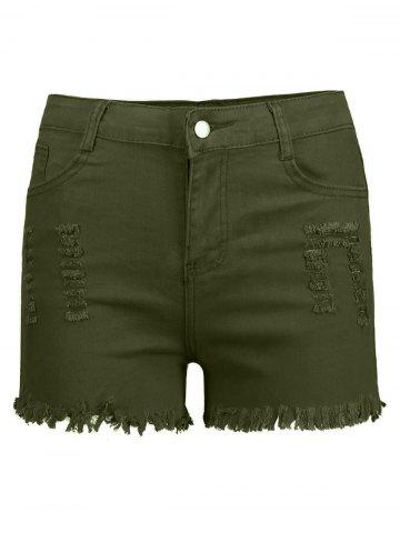 Online High Waisted Ripped Denim Shorts - L ARMY GREEN Mobile