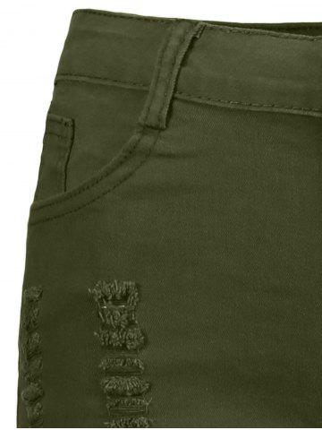 Affordable High Waisted Ripped Denim Shorts - L ARMY GREEN Mobile