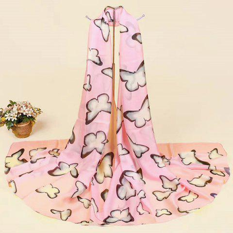 Smooth Butterfly Printing Imitation Silk Scarf - Pink