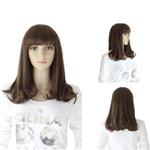 New Neat Bang Medium Slightly Curly Synthetic Wig - 16INCH TAUPE Mobile