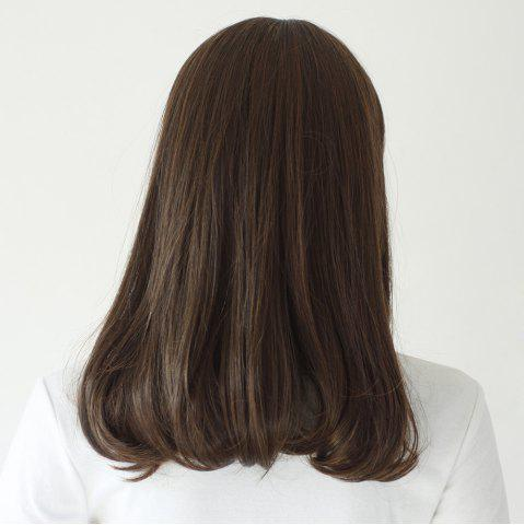 Chic Neat Bang Medium Slightly Curly Synthetic Wig - 16INCH TAUPE Mobile