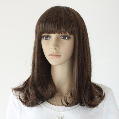 Store Neat Bang Medium Slightly Curly Synthetic Wig - 16INCH TAUPE Mobile
