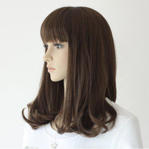 Outfit Neat Bang Medium Slightly Curly Synthetic Wig - 16INCH TAUPE Mobile