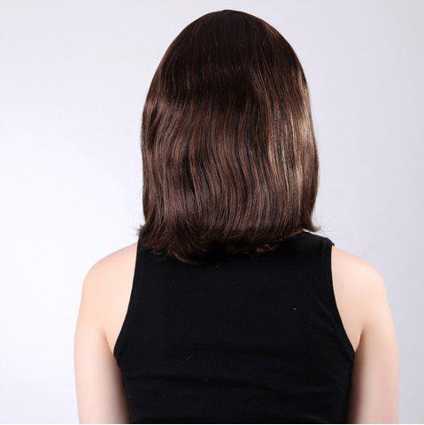 Discount Short Inclined Bang Natural Tail Adduction Straight Bob Synthetic Wig - 14INCH LIGHT BROWN Mobile