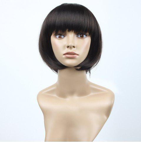 Outfit Neat Bang Short Straight Bob Synthetic Wig - 10INCH BLACK AND BROWN Mobile