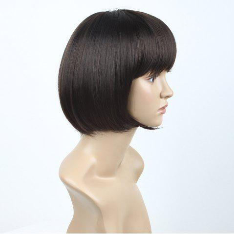 Chic Neat Bang Short Straight Bob Synthetic Wig - 10INCH BLACK AND BROWN Mobile