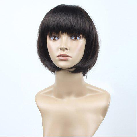 Buy Neat Bang Short Straight Bob Synthetic Wig - 10INCH BLACK AND BROWN Mobile