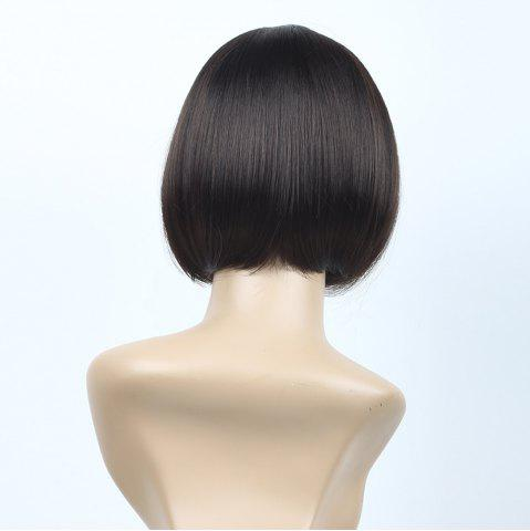 Discount Neat Bang Short Straight Bob Synthetic Wig - 10INCH BLACK AND BROWN Mobile