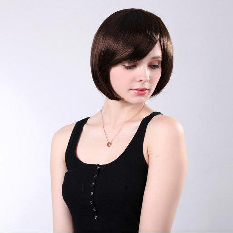 Outfit Inclined Bang Short Straight Bob Synthetic Wig - 10INCH DEEP BROWN Mobile