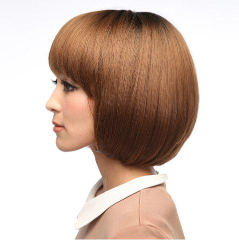 Discount Neat Bang Silky Straight Short Bob Synthetic Wig - 10INCH LIGHT COFFEE Mobile