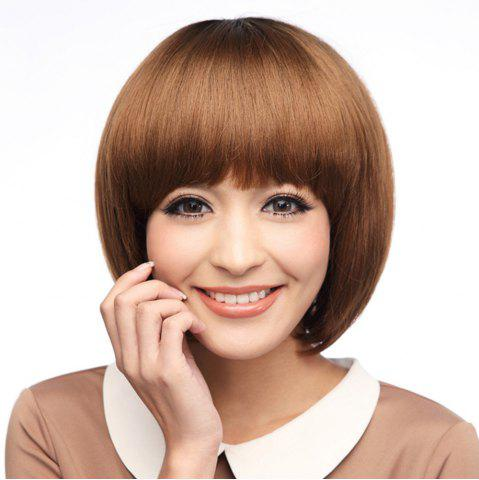 Chic Neat Bang Silky Straight Short Bob Synthetic Wig - 10INCH LIGHT COFFEE Mobile