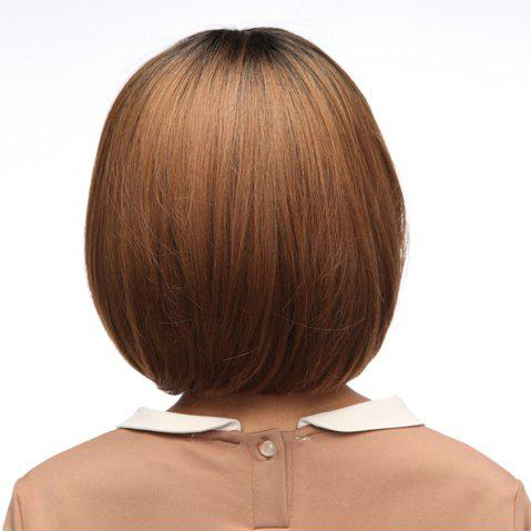 Affordable Neat Bang Silky Straight Short Bob Synthetic Wig - 10INCH LIGHT COFFEE Mobile