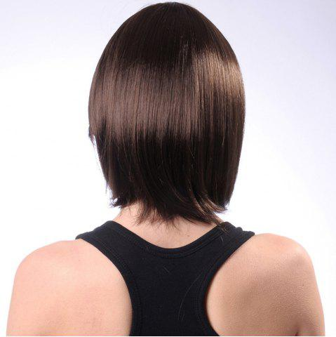 Fancy Neat Bang Short Silky Straight Bob Synthetic Wig - 10INCH COFFEE Mobile