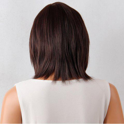 Sale Layered Medium Neat Bang Natural Straight Synthetic Wig - 12INCH MAROON Mobile