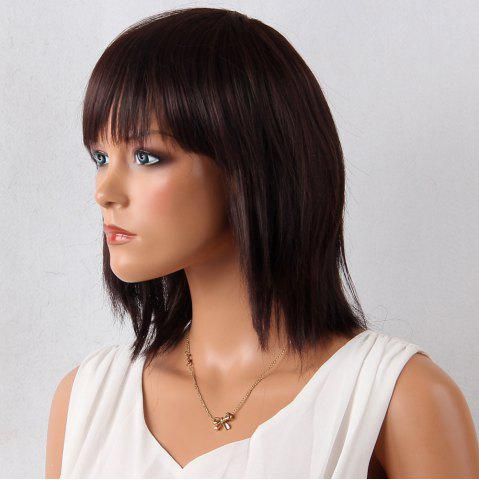 Fancy Layered Medium Neat Bang Natural Straight Synthetic Wig - 12INCH MAROON Mobile