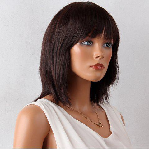 Store Layered Medium Neat Bang Natural Straight Synthetic Wig - 12INCH MAROON Mobile