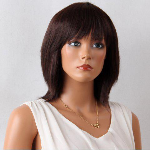Affordable Layered Medium Neat Bang Natural Straight Synthetic Wig - 12INCH MAROON Mobile