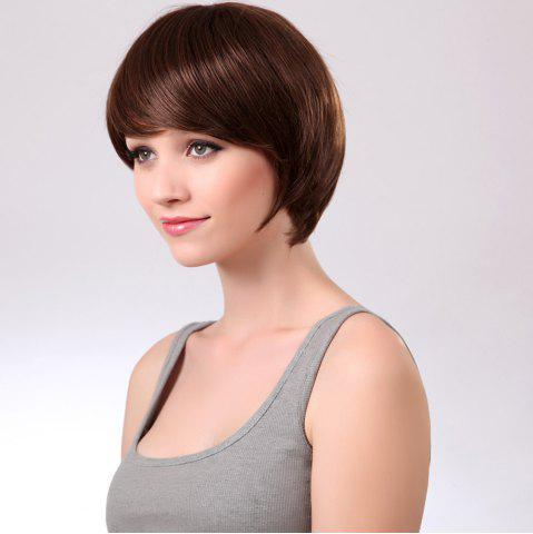 Online Side Bang Glossy Straight Short Synthetic Wig - 8INCH BROWN Mobile