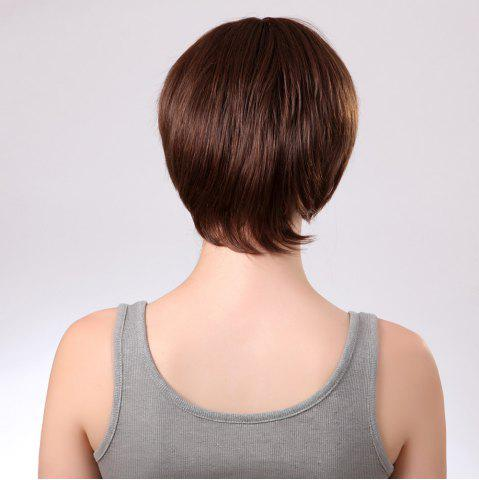 Discount Side Bang Glossy Straight Short Synthetic Wig - 8INCH BROWN Mobile