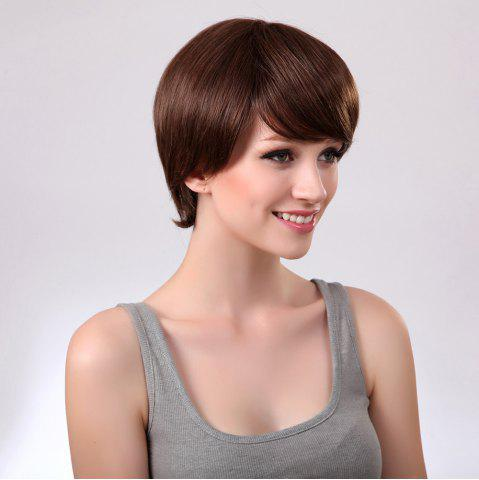Sale Side Bang Glossy Straight Short Synthetic Wig - 8INCH BROWN Mobile