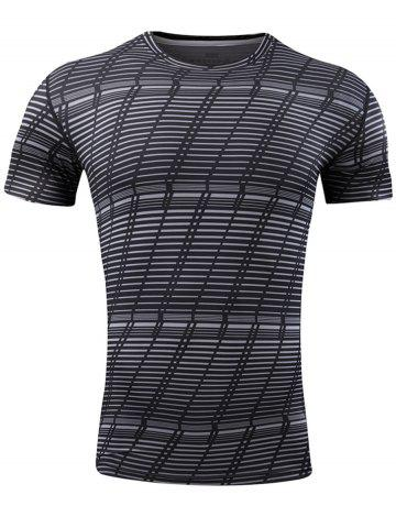 Quick Dry Striped Pattern Gym T-shirt - Black - L