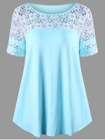 Chic Floral Lace Panel T-shirt BLUE L