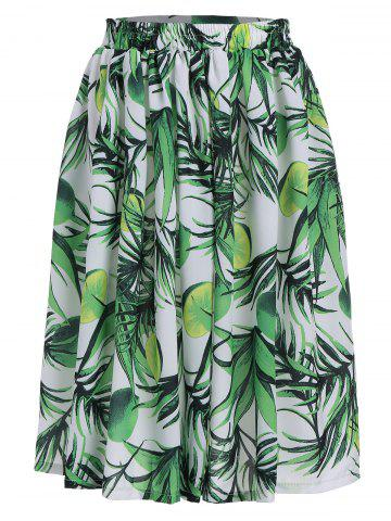 Affordable Lemon Leaf Print Elastic Waist Flared Skirt GREEN XL