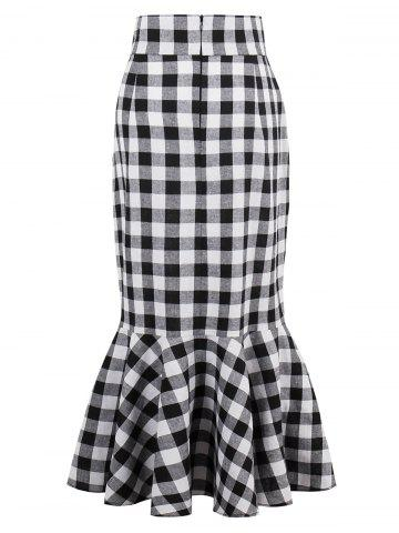 Cheap High Waist Tartan Mermaid Skirt - S BLACK WHITE Mobile