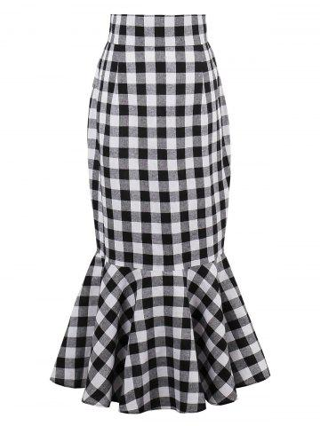 High Waist Tartan Mermaid Skirt - Black White - S