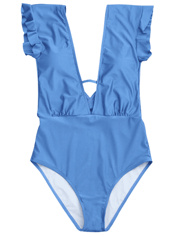 Shops Frilled One Piece Plunge Swimsuit - L BLUE Mobile